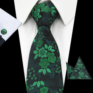 Floral Fashion Silk Necktie, Hanky And Cufflinks Set - Garden Gift Hub