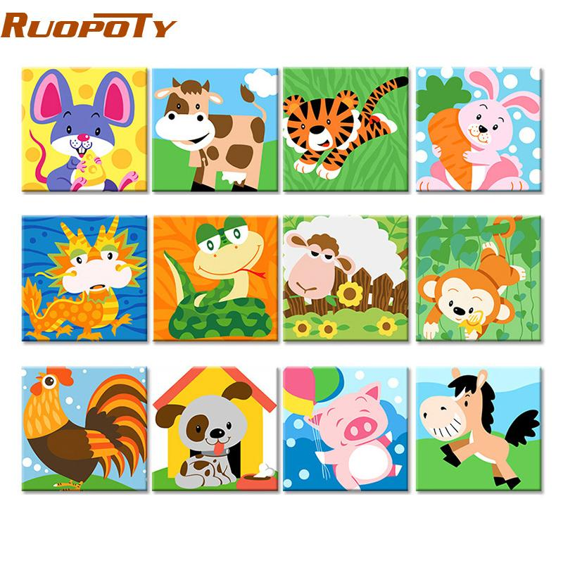 Beloved DIY Painting By Numbers Animals Kit for Kids and Adults