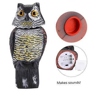 Realistic Bird Scarer. Rotating Head and Loud noise Owl Will Protect and Repel Birds and Pests - Garden Gift Hub
