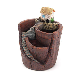 Quaint Mini Vintage Design Flower Pot With Micro-landscape - Garden Gift Hub