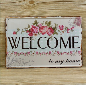 Charming Vintage Metal Welcome Sign - Garden Gift Hub