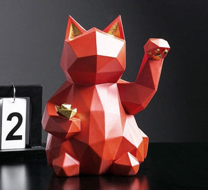 Lucky Cat Resin Sculpture Decoration for the Modern Home