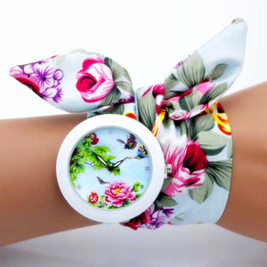 Unique Womens Flower Fabric Wristwatches - Garden Gift Hub