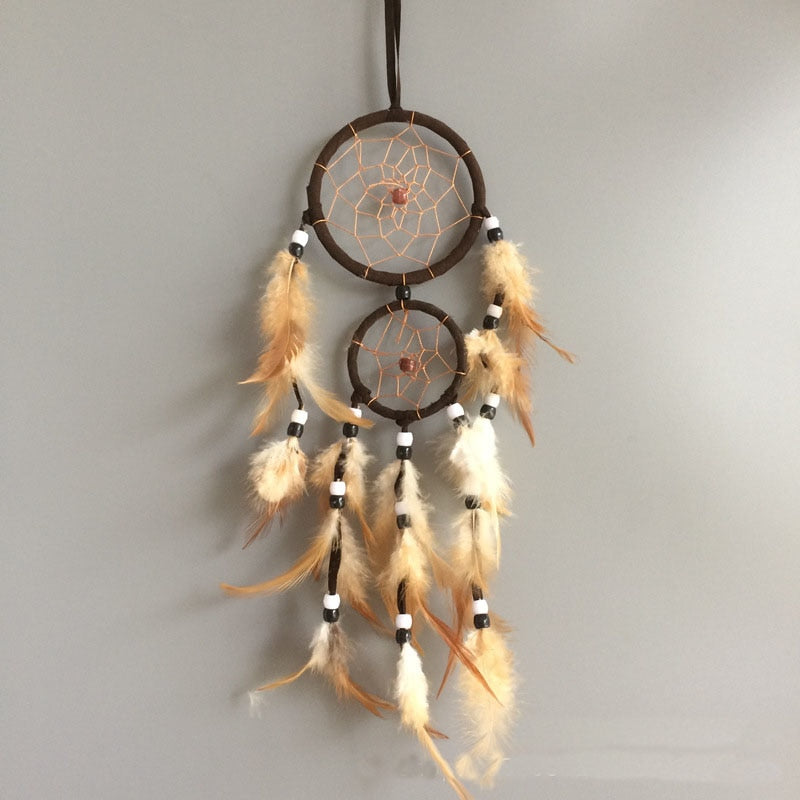 Vintage Home Decoration Retro Feather Dream Catcher Circular Feathers Wall Hanging Dreamcatchers Decor For Car