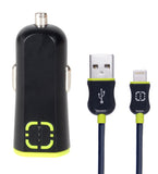 2.4A Car Charger w/ Lightning Cable Black/Green