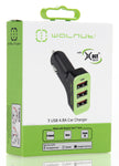 4.8A Triple Car Charger Black/Green