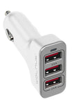 4.8A Triple Car Charger White/Grey