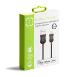 MFI Lightning Cable Black/Red 1.2m