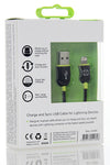 MFI Lightning Cable Black/Green 1.2m