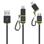 MFI Lightning/Micro USB Cable Black/Green 1.2m