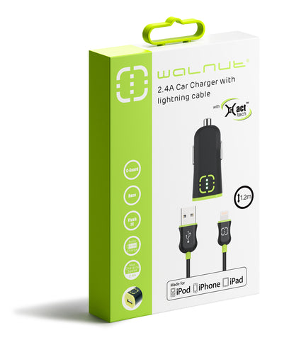 2.4A Car Charger with Lightning Cable Black/Green