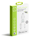 2.4A Car Charger w/ Lightning Cable White/Grey
