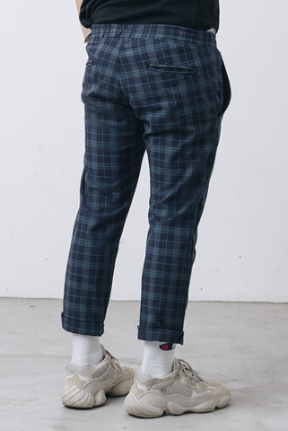 Check Ankle cut Pants DarkBlue