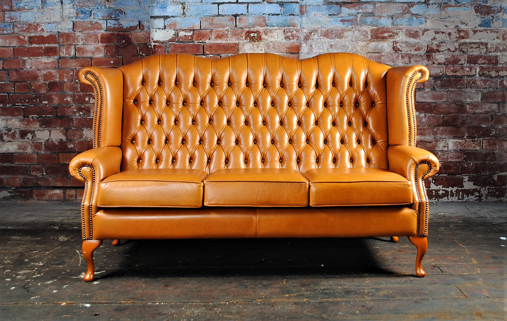 Queen Anne 3 seater High Back Hand dyed Cognac - £1000 RRP £2563.54