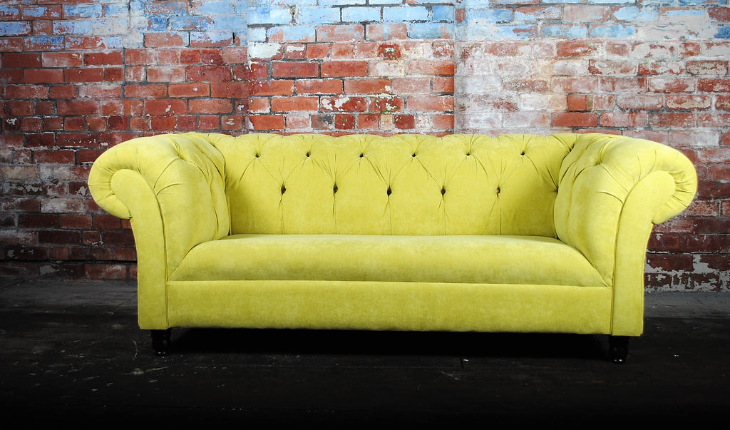 Gold velvet prototype sofa £1000