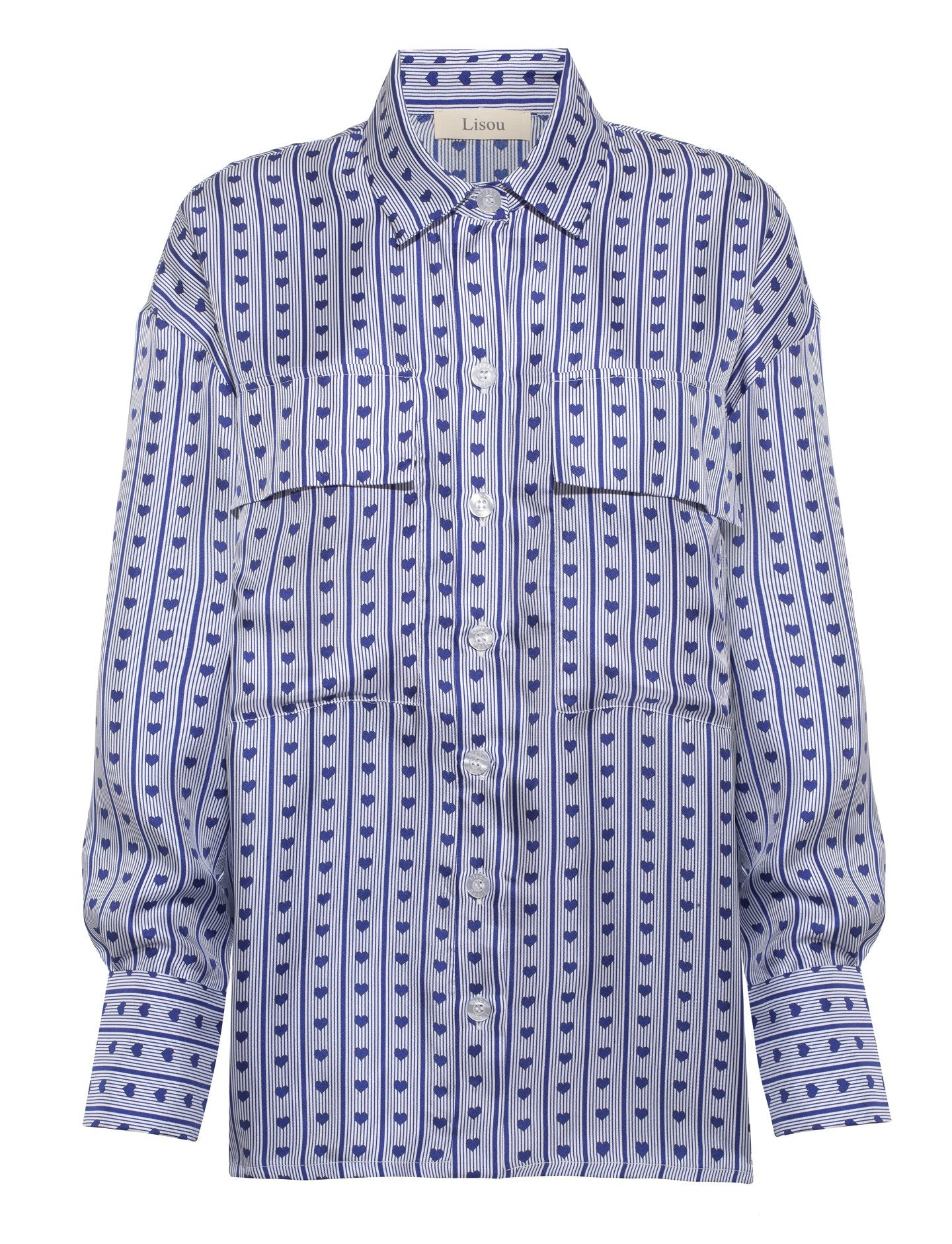 Alanna Love Heart blue stripe silk shirt