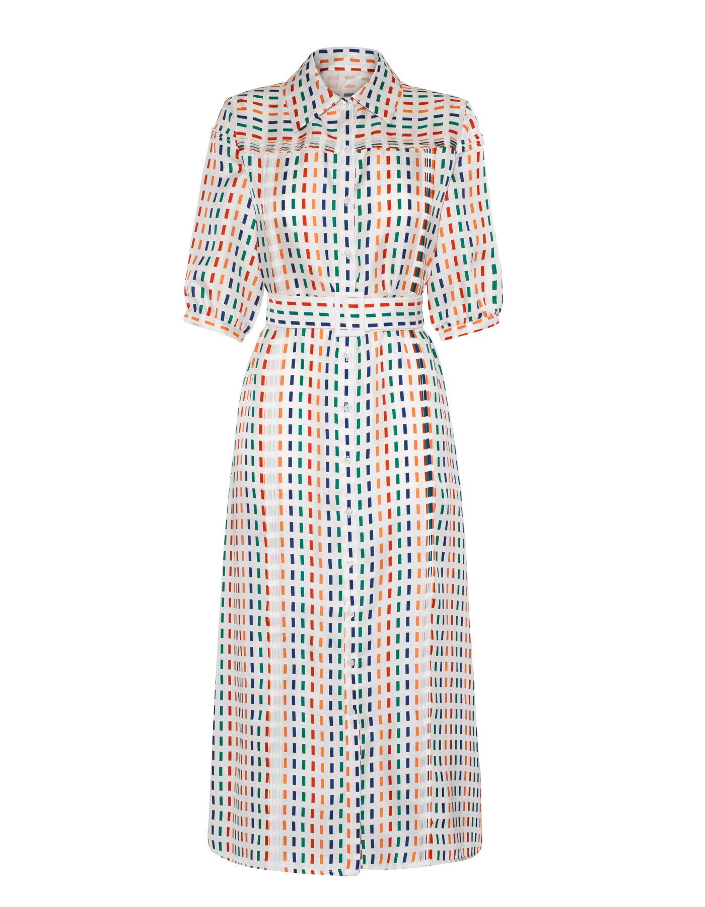 Alexa Rainbow Dash Print Silk Midi Dress
