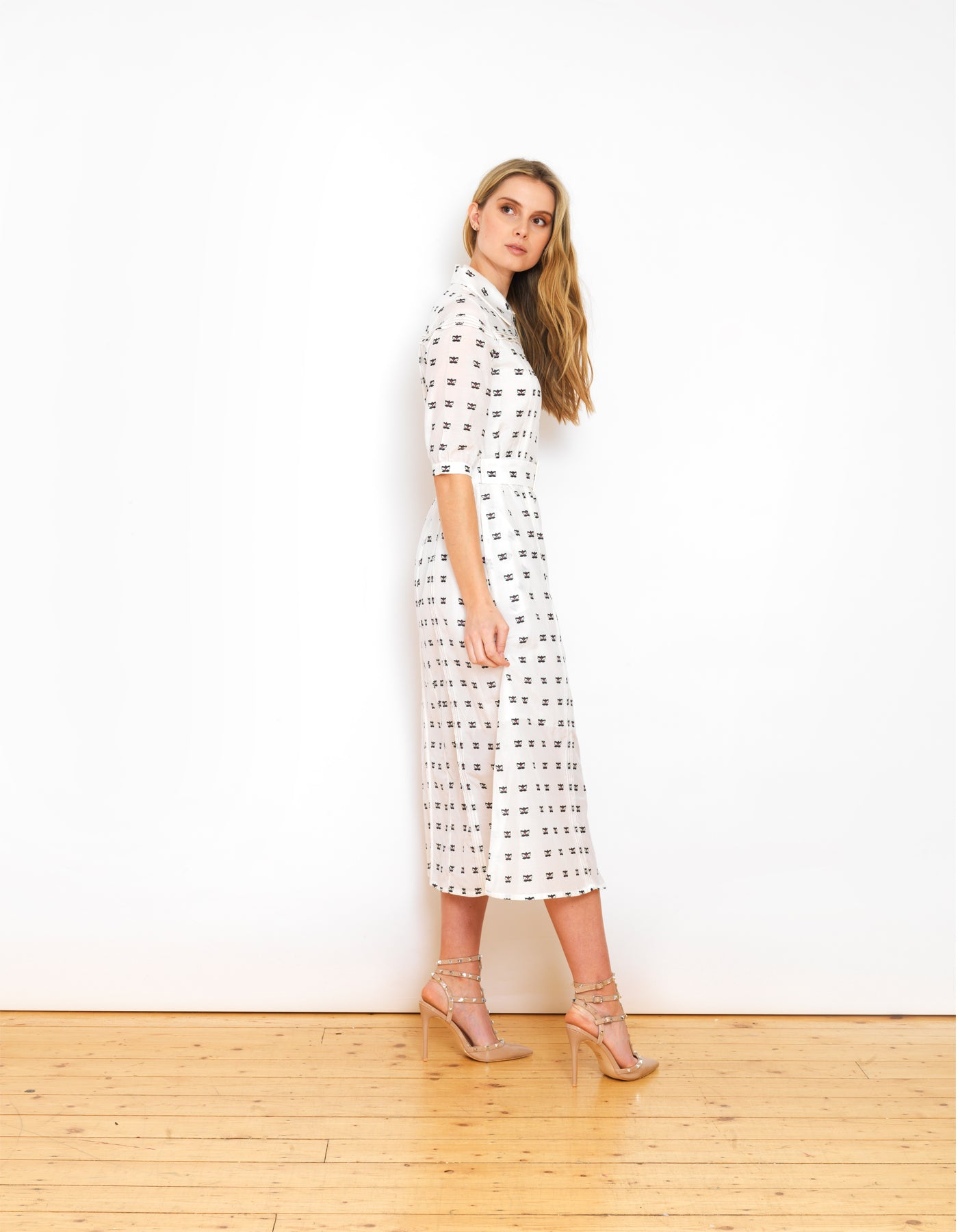 Alexa White Lily Print Voile Belted Dress