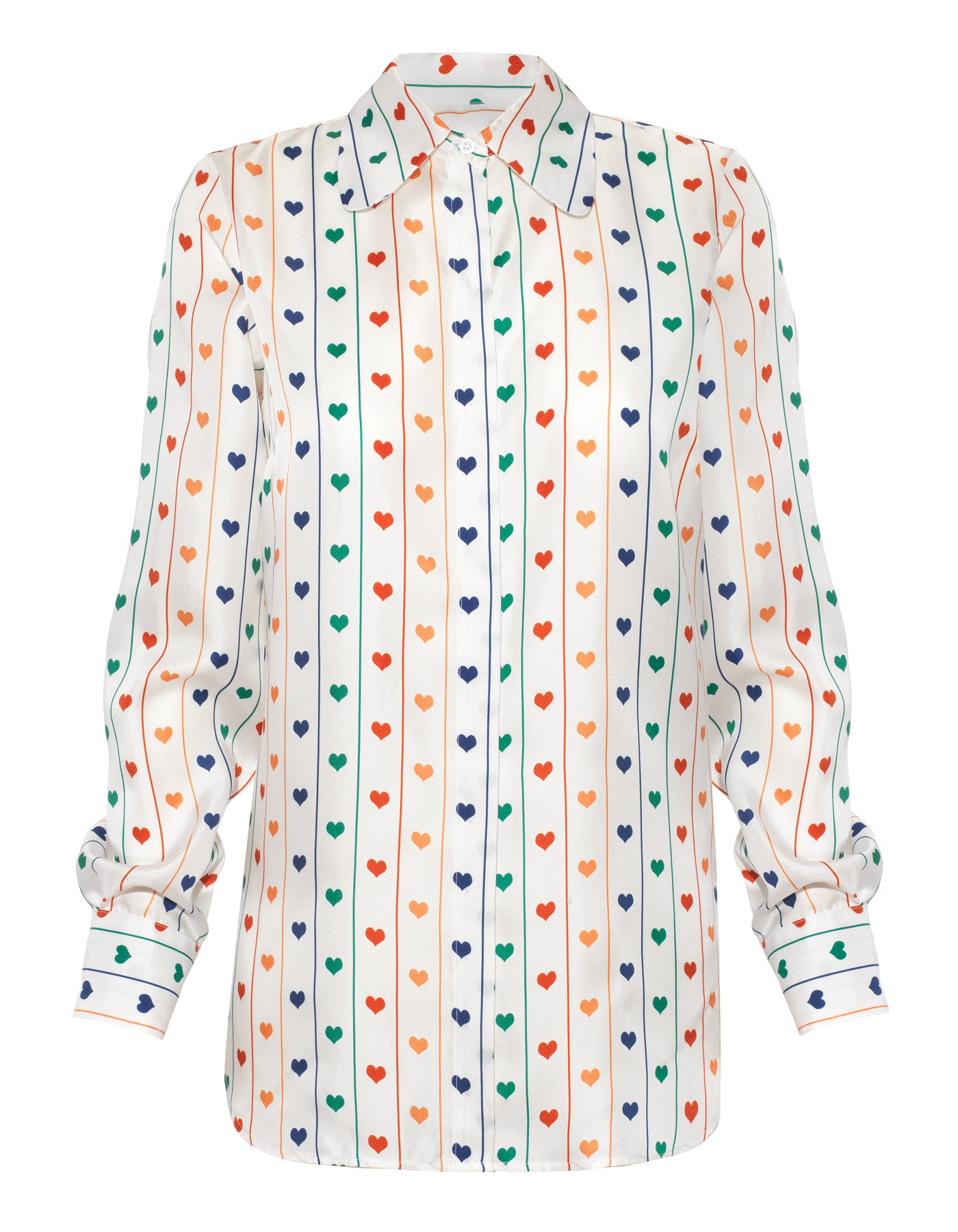 Bailey Rainbow Heart Print Silk Shirt