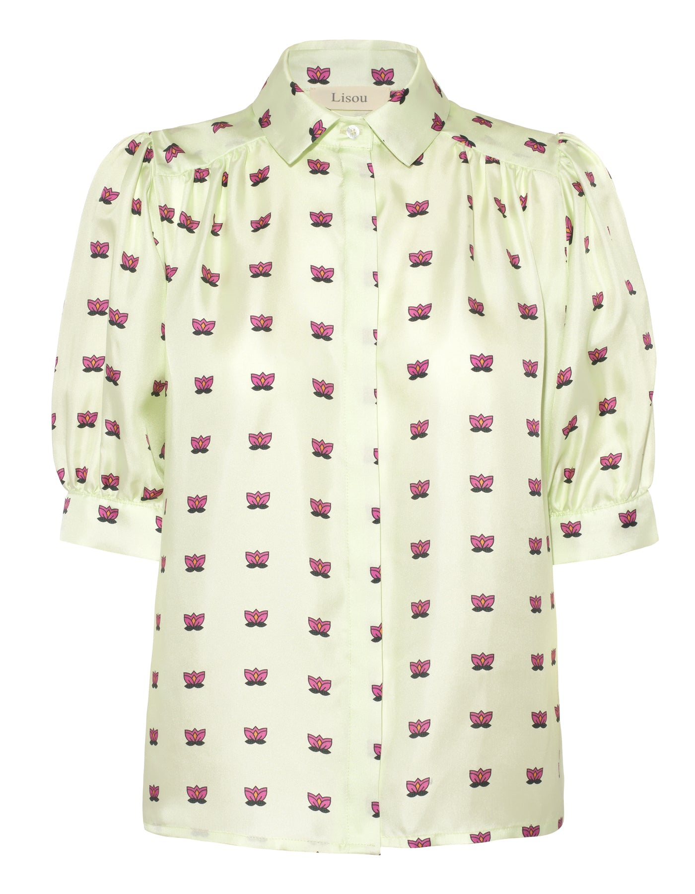 Betty Green Lily Print Silk Shirt