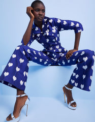 Jade Metallic Blue Heart Jacquard Jumpsuit Model Shot