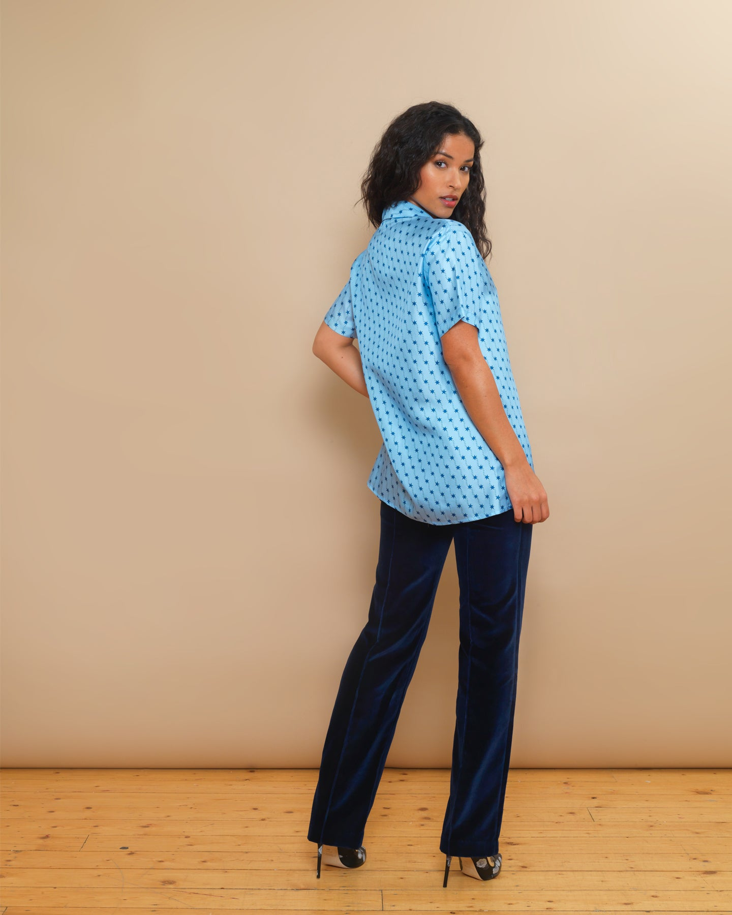 Victoire silk Blue shooting star print shirt