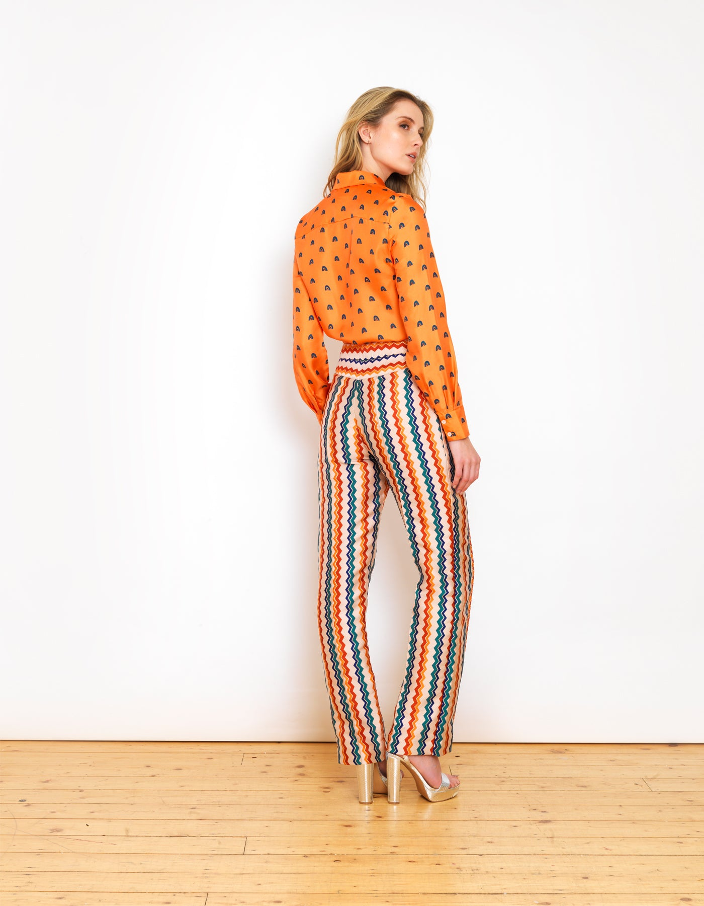 Bailey Mango Rainbow Print Silk Shirt