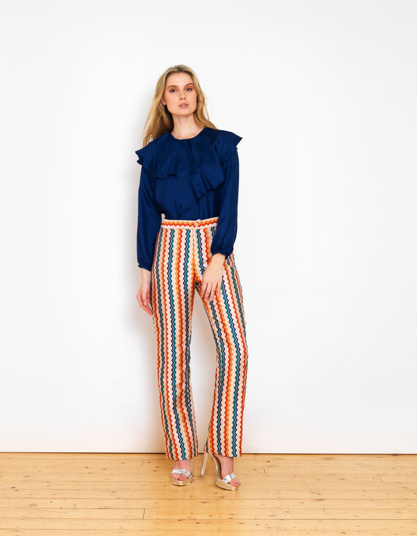 Hetty Metallic Rainbow Zig Zag Jacquard Trousers