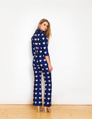 Jade Metallic Blue Heart Jacquard Jumpsuit