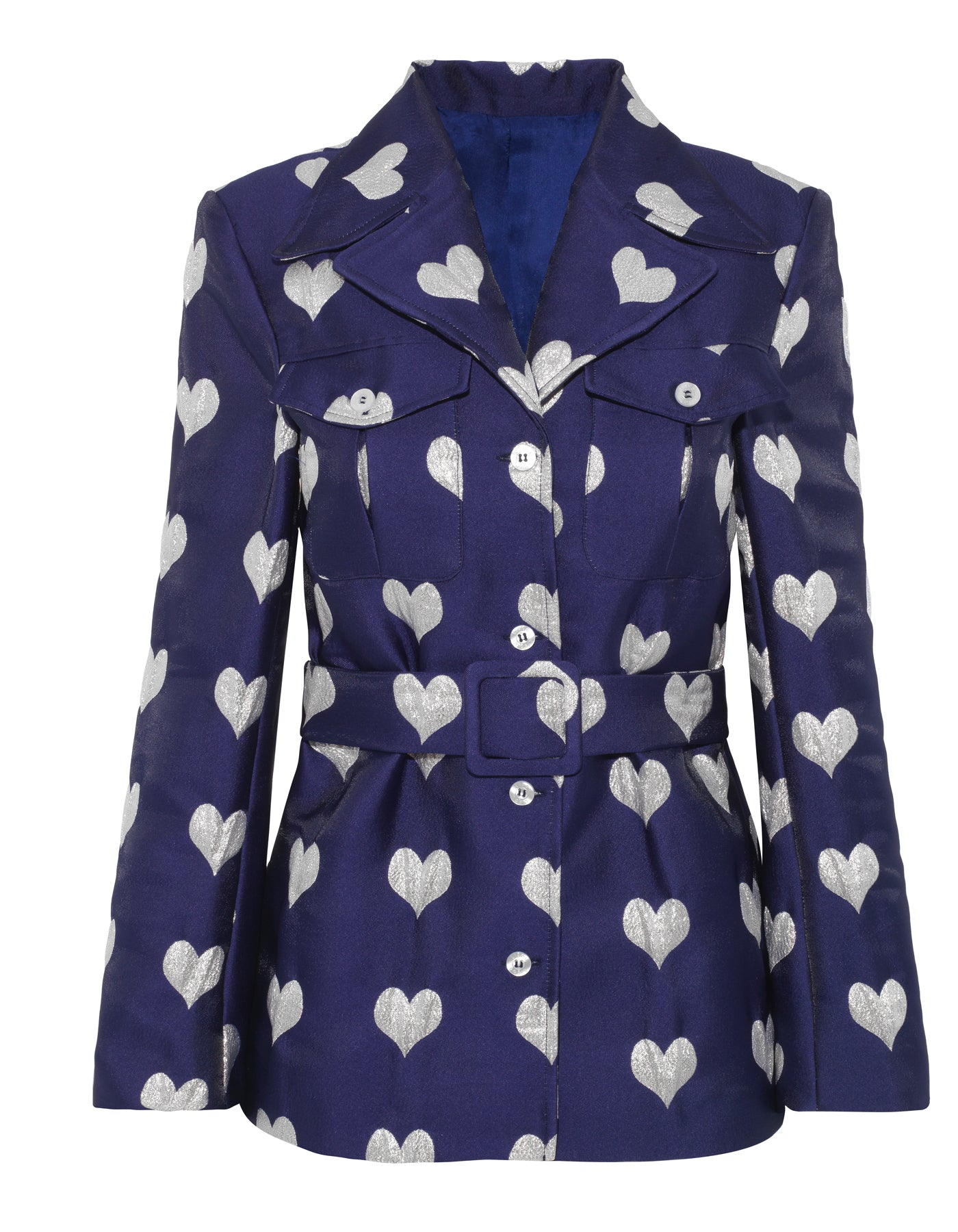 Lucille Metallic Blue Heart Jacquard Jacket