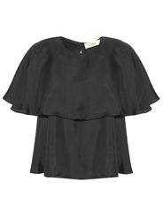 Nour black silk ruffle layered top