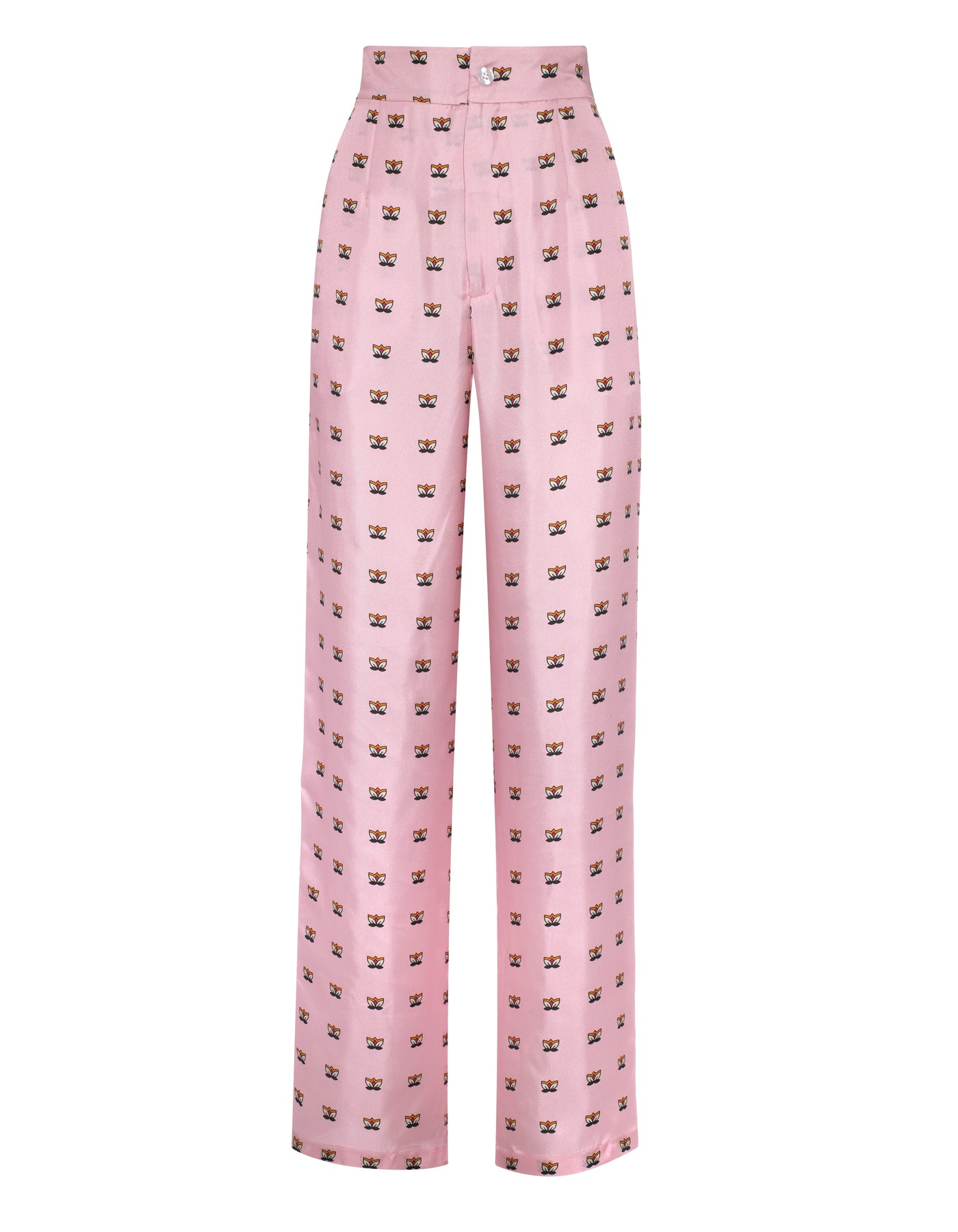 Salome Pink Lily Print Silk Trousers