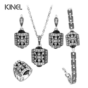 4pcs/Sets Turkish Jewelry For Women Crystal Ring Vintage Jewelry Sets
