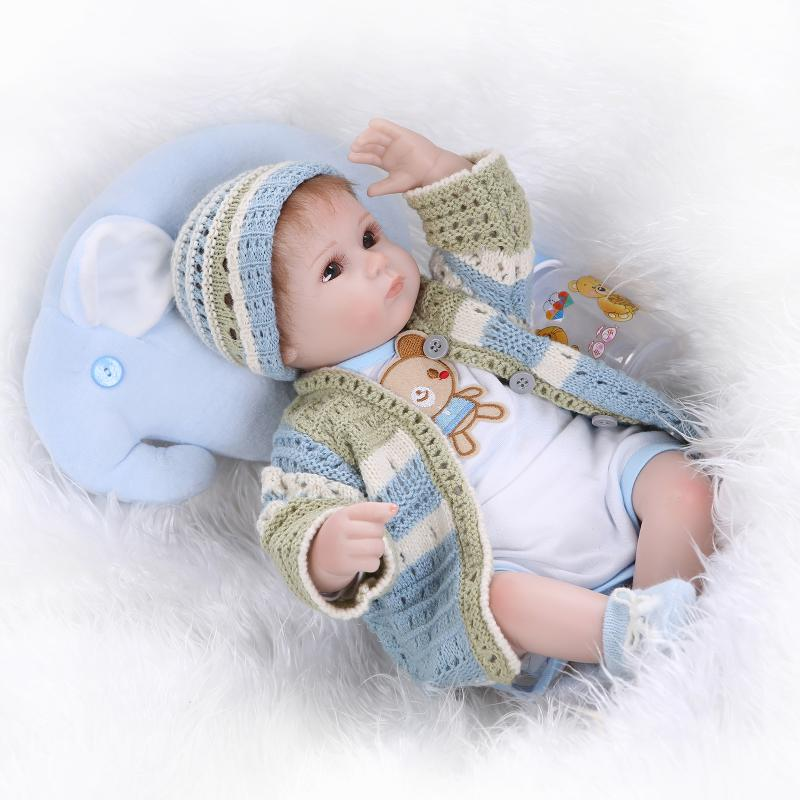 Silicone doll toy reborn babies for girl, lifelike 18""