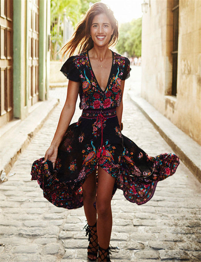 Summer V Neck Vintage Boho Long Maxi Floral National Chiffon Dress Party Beach