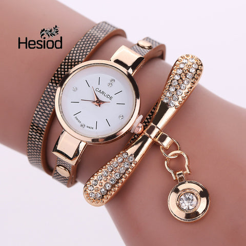 Leather Quartz Watch Women Dress Wristwatch Gold Ball Crystal Pendant Charm