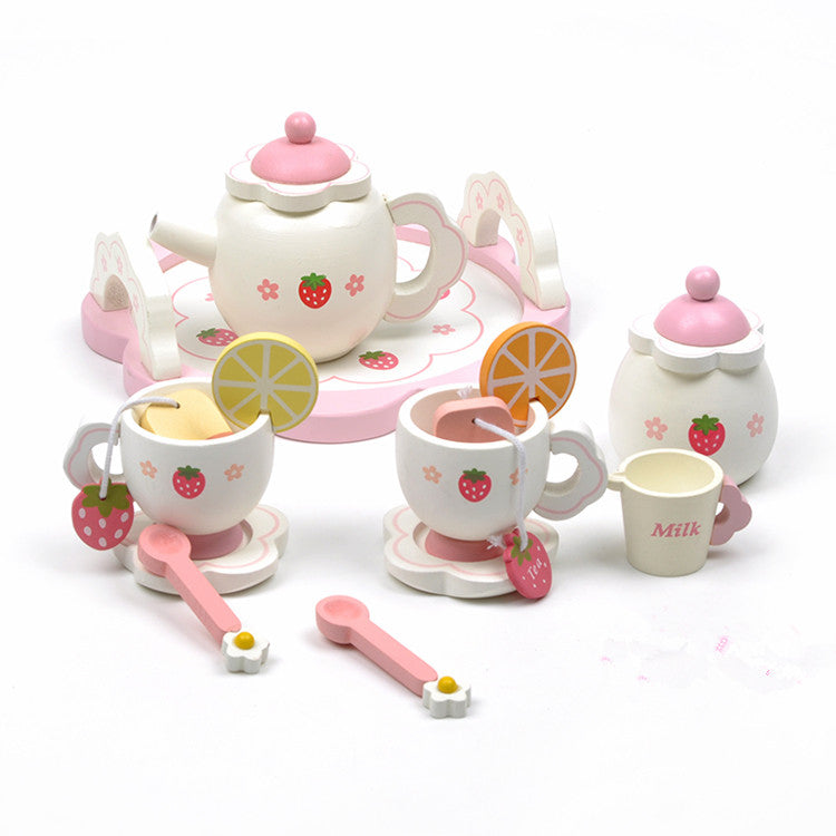 New 2015 Baby Toy Learning & Education Mother Simulation Wooden Tea Garden Strawberry Children Play Kitchen Toys