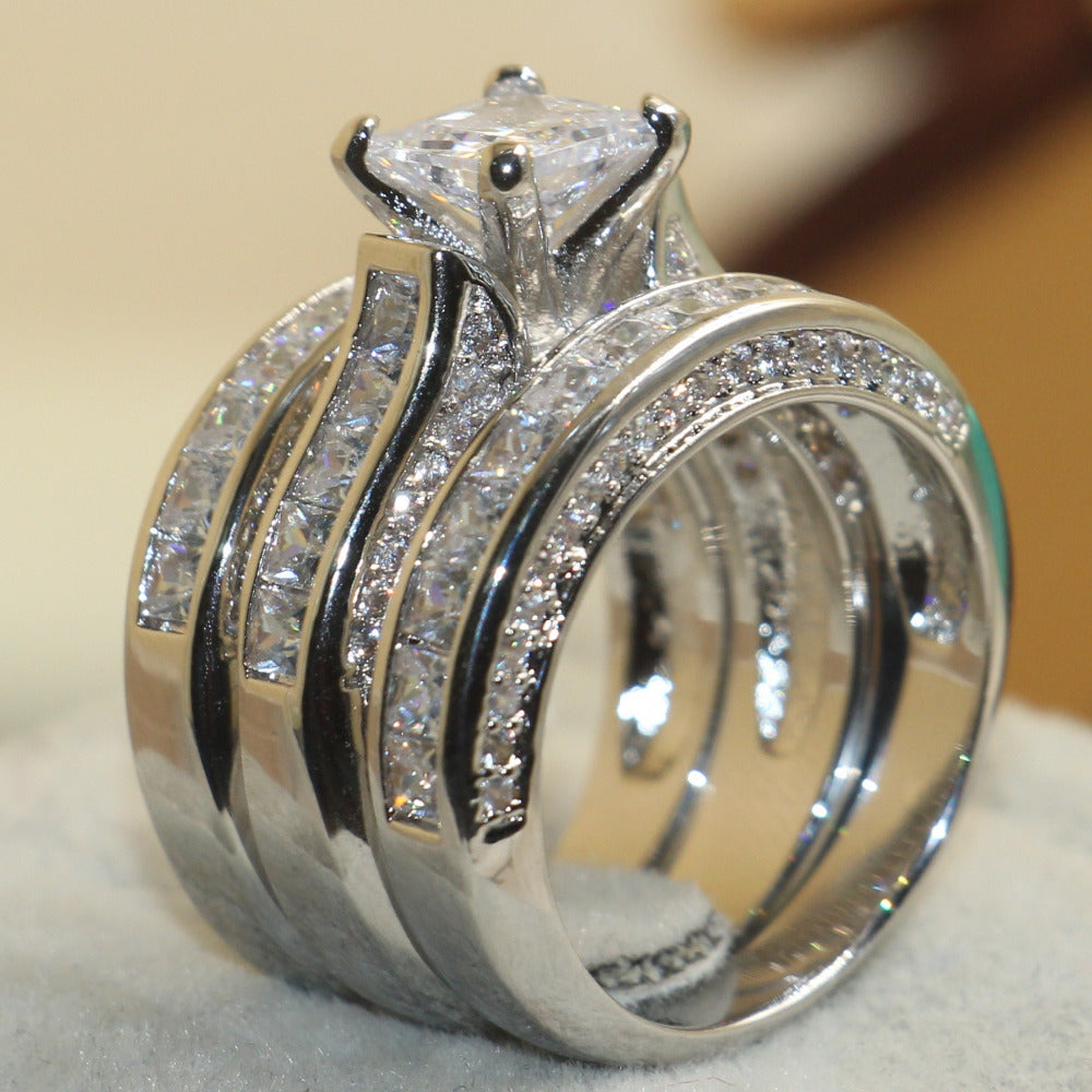925 Sterling Silver White Clear 5A CZ stones Ring , Size 5-11