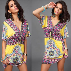 Women's Summer Bohemian Style Dress Sexy Sundresses Deep V Ethnic Floral Print