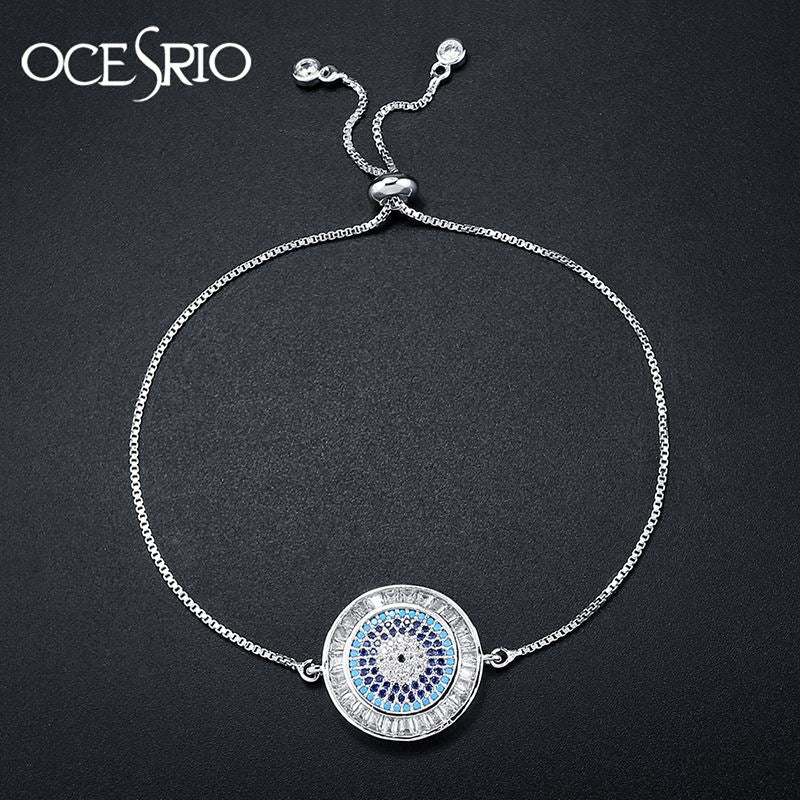 High Quality Micro Pave Cubic Zirconia Round Pendant Silver Chain Turkish Evil Eye Bracelets