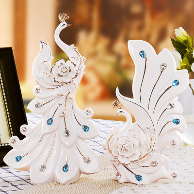 white ceramic Peacock lovers home decor crafts room decoration handicraft ornament porcelain animal figurine wedding decoration