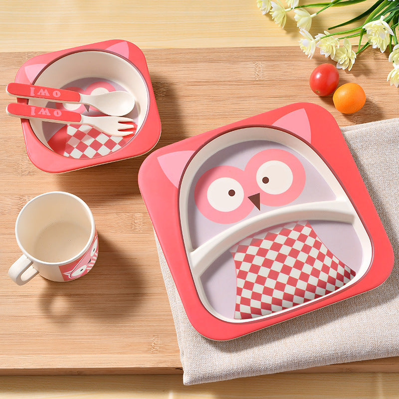 Bamboo child baby tableware plate set kids children dinnerware set dishes