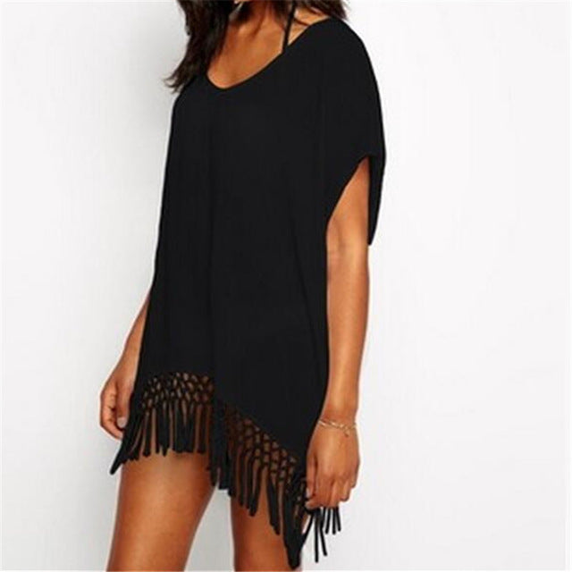 Beach Cover up Chiffon Tassel, Ladies Walk on The Beach