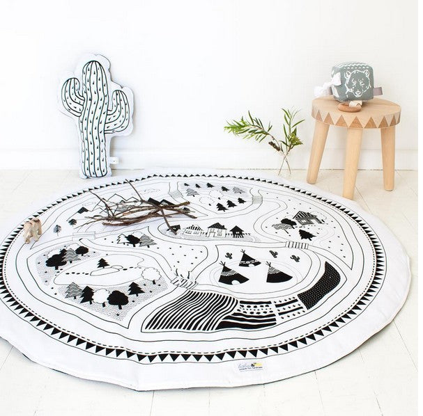 Kids Play Mat Cobertor Cotton Girl Boys Game Mat Round Carpet