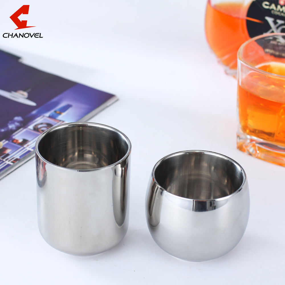 Coffee Mugs Double Layer Tea Cup Wine Cup Scald-proof- stainless steel
