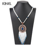 Kinel Bohemia Tassel Pendant Necklace For Women Hand-Beaded