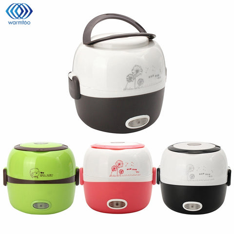 Portable Electric Rice Cooker 1.3L Electric Lunchbox 2 Layers Steamer Multifunction