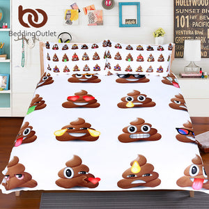 Queen Size for Kids Funny Smiley Faces Bed Cover With Pillowcases 3pcs Duvet Cover
