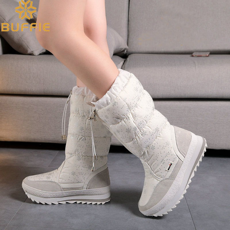 Knee-High zipper up girl snow boots white colour quality soft warm fur