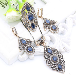 Vintage Turkish Flower Resin Jewelry Sets Long Necklace Hook Earrings